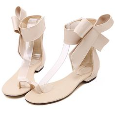 SheIn(sheinside) Apricot Bow Flip Flat Sandals ($32) ❤ liked on Polyvore featuring shoes, sandals, apricot, flat sandals, ankle cuff sandals, bow sandals, ankle cuff flat sandal and peep toe shoes