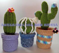 Cactus varios a crochet. Ni pinchan ni hay que regarlos!!!