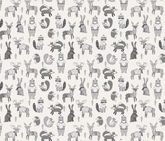 Woodland christmas animals fabric bear fox deer raccoon lite fabric by andrea_lauren on Spoonflower - custom fabric