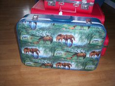 Small Vintage  Suit Case  upcycled with horse by Traincasesandmore