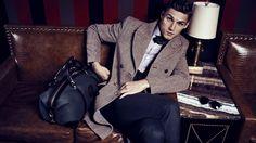 flannel suit, ghurka weekender, velvet bow tie, and herringbone coat