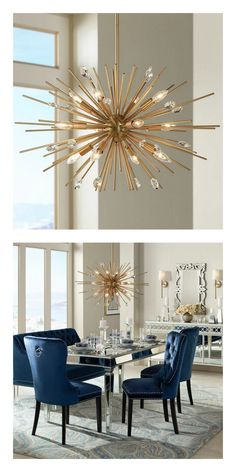 A plated antique gold finish sputnik style pendant light with clear crystal.