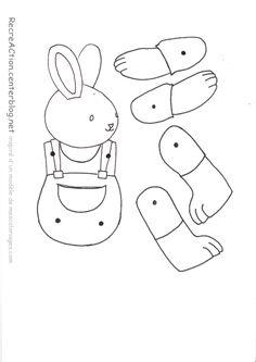 voici le gabarit pour faire le lapin pantin C'est un modèle trouvé sur le net que j'ai retouché pour le mettre à mon gôut, vous pouvez l'utiliser tel quel ou le modifier à votre tour!