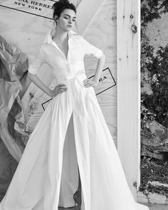 Carolina Herrera's classic shirt dress with long, cuffed sleeves is an ultra-chic take on bridal in Spring 2017.