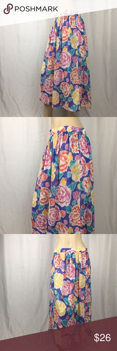 Vintage Laura & Jayne Pastel Floral Maxi Skirt Vintage Laura & Jayne Pastel Floral Maxi Skirt. Has inner lining. Side button. Has pockets. Good vintage condition with 2 small stains as pictured. Beautiful Flowy skirt. Size says 16 but see measurements. 100% polyester. 31 inch waist, 32 inches long. Perfect Easter and spring skirt Skirts Maxi
