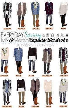 Here is a new JCPenney capsule wardrobe for Fall.   This isn't a true a capsule wardrobe in that is covers all occasions but these mix and match outfits will have you looking great for all your fall casual events. I am a huge fan of the oregano  pants that are right on trend for fall and sweater cardigan.