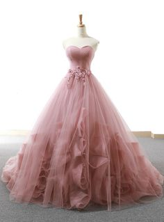 Pink Ball Gown Sweetheart Tulle Applique Wedding Dress – … – New Ideas – Wedding Gown Blush Prom Dress, Pretty Prom Dresses, Sweet 16 Dresses, Tulle Prom Dress, Blush Gown, Tulle Ball Gown, Dress Lace, Long Prom Gowns, Backless Prom Dresses