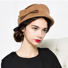 d2b528e98ac Fashion bow berets winter hats for women wool felt hat