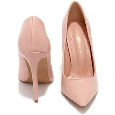 Click Your Heels Blush Pink Pointed Pumps ($34) ❤ liked on Polyvore
