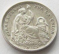 Peru, Silver Coin, 1 Dinero 1916, TOP High Grade, Very Scarce, UNC !
