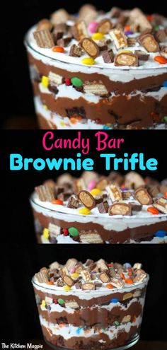 Brownie Trifle, Trifle Desserts, Dessert Recipes, Yummy Recipes, Halloween Candy Bar, Halloween Chocolate, Halloween Treats, Halloween Kitchen, Halloween Party