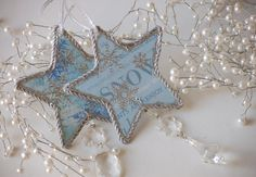 Star Snowflakes Christmas Tree Ornament, Let it Snow Xmas Decorations, Blue and Silver, Set of 2 ornaments from JacquelineADesigns  on Etsy