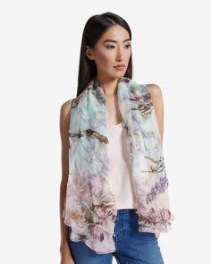 Torchlit Floral silk cape scarf - Pale Green | Scarves | Ted Baker AU