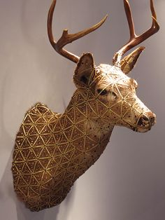 Cassandra Smith, Deer, 2006  taxidermy, sequins, ribbons, glue  4' x 4'