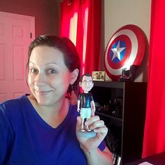 Hanging with my hubs at the office  . This tiny bobblehead version of him always makes me smile! I feel like he needs one of me at his office.... #christmas? . #work #working #crushingit #fun #workfromhome #homeoffice #nerd #captainamerican #bobblehead #hubs #husband #love #cutie #funny #girlboss #boss #femprenuer #entrepreneur #digital #digitalvideo