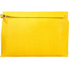 Loewe T Pouch (8.683.350 IDR) ❤ liked on Polyvore featuring bags, handbags, clutches, yellow, pouch purse, loewe, yellow purse, yellow handbags and loewe handbags