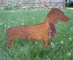 Dachshund Garden Stake or Wall Hanging / Garden Art / Pet Memorial / Shadow / Cut Out / Metal / Silhouette / Dog / Rusty on Etsy, $43.99