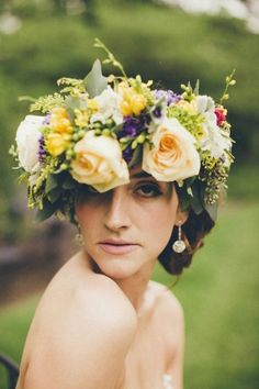 2014 champagne wedding floral crown, colorful bridal floral crown.
