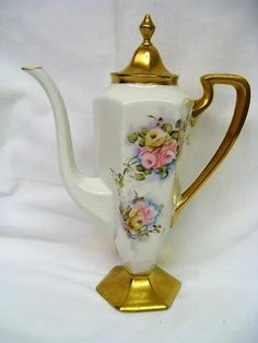 Hand Painted Rose Limoges Coffee Set
