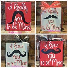 I really mustache you to be mine Valentine stacker blocks from FabDecor.com