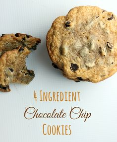 Soft chocolate chip cookies with only 4 ingredients. 1c pb, 1c sugar, 2 eggs, 2c chips, 350, 10-12 mins, 16 cookies