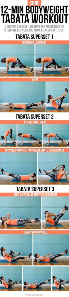 12-Minute Bodyweight Core Tabata Workout -- this workout is broken up into three 4-minute tabata supersets