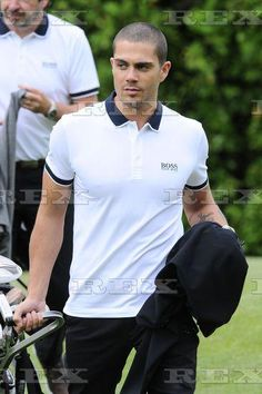 Max George playing golf at a charity event in Manchester, UK