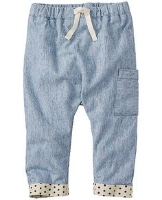So-soft washed chambray in a relaxed fit that's always ready to go-go-go (and ready to grow with rollup cuffs). Gentle elastic waist feels great and makes for easy diaper changes.  <br>•NEW baby/toddler sizes = a perfect fit for every little one <br>•100% ticking stripe cotton chambray <br>•Comfy stretch waist with adjustable drawcord <br>•Print lining on inside hem for roll up detail  <br>•Extra length for cuffing <br>•Single side cargo pocket <br>•Prewash...