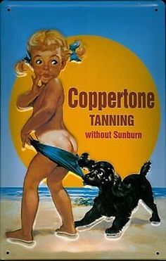 Coppertone Tanning Without Sunburn Girl and Dog Framed Mirror Sign Vintage Signs, Vintage Ads, Vintage Posters, Vintage Photos, Retro Ads, Nostalgia, Dog Frames, Old Advertisements, Advertising