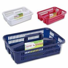 """15""""L Plastic 2 Sided Tote Caddy with Handle - Navy Blue by 4 Season. $14.99"""