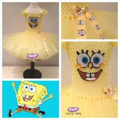 Girls Spongebob Square Pants inspired Tutu Dress 0-8yrs riley!!!!!!
