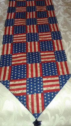 Patriotic Handmade Table Runner, 72x14, Reversible & Padded