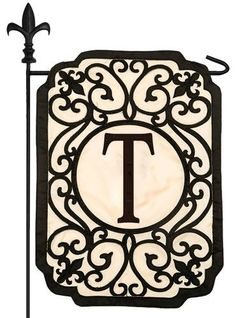 Filigree Letter T Applique Monogram Garden Flag