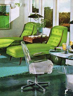Green lounge chairs, 1970