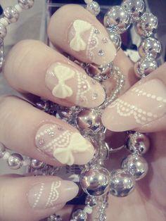 kawaii bow gem nails