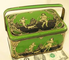 antique cherbubs and children lunch box tin 1925's