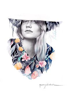 Chica con sombrero y flores. Fedora. por naranjalidad en Etsy