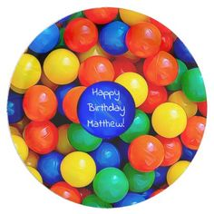 Shop Bouncy Balls Ball Pit themed Birthday Party Paper Plate created by TimefortheHolidays. Ball Theme Birthday, Bouncy Ball Birthday, Ball Birthday Parties, Birthday Backdrop, Birthday Party Decorations, Boy Birthday, Birthday Ideas, Personalized Note Cards, Party Tableware