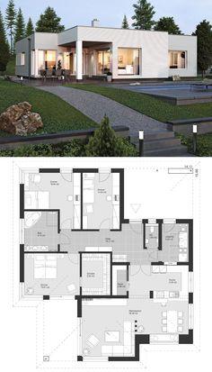 "Modern bungalow of contemporary European style Architecture Design House Plan . - Modern bungalow in contemporary European style Architecture Design House Plan ""EL … – Crafts Bl - Modern Home Design, Contemporary House Plans, Modern House Plans, Modern Homes, Contemporary Design, Modern Bungalow House Design, Bungalow Designs, Contemporary Architecture, Modern Bungalow Exterior"
