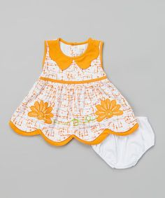 Another great find on #zulily! Orange & White Floral Dress & Diaper Cover - Infant by Lele for Kids #zulilyfinds
