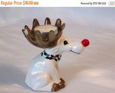 CHRISTMAS SALE Ceramic Christmas Moose. Fitz and Floyd Votive Candle Holder 1975.