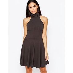 Club L Essentials High Neck Skater Dress In Rib ($16) ❤ liked on Polyvore featuring dresses, grey, ribbed dress, club l dresses, gray dress, rib dress and skater dress