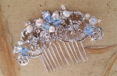 #Wedding Hair Comb, Blue  Swarovski Crystal Pearl Hairpiece,  Wedding Hair Piece,  Bridal Hair Comb, Freshwater Pearl Comb, Silver Hair Comb  Bridal Hair Accessory, Vintage ... #bbride #wedding #weddinghairpiece #haircomb #crystalhairpiece