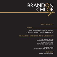 Jamesbond Themed 007 Wedding Invitation By Ananya Cards James Bond Wedding James Bond Theme