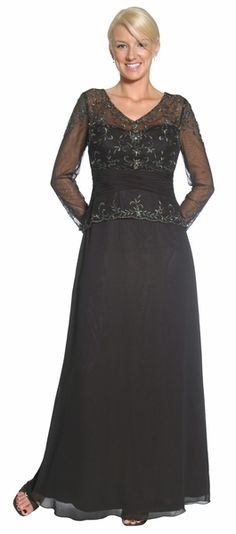 Long Sleeve Black Mother of Bride Dress Chiffon V Neck Embroider Gown $149.99