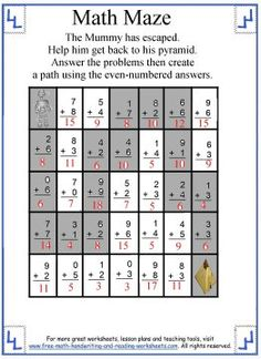 9 Best Math Maze Images Addition Facts Addition Worksheets Free Math