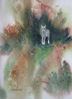 Wolf Dog Painting. Canine original watercolor by CecileRancourtArt