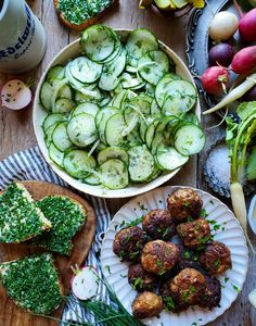 These juicy German meatballs are a great snack or meal, served with a great cucumber salad, chive tartines, and french fries. #frikadellen #germanmeatballs #germancuisine #beef #appetizer #snacking #picnicfood #beerhallfood #whatsfordinner