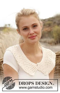 "Crochet DROPS collar in ""Muskat"". Size S - L ~ DROPS Design, very retro, thanks so for freebie xox"