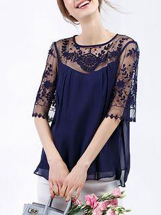 5f0c9844ade048 Shop bellywear deep blue sheer silk blouse here
